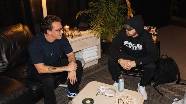 Logic with Eminem, sitting backstage