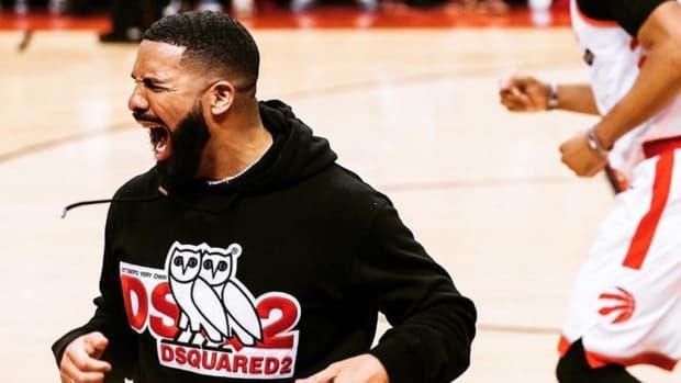 Drake celebrating the Raptors win