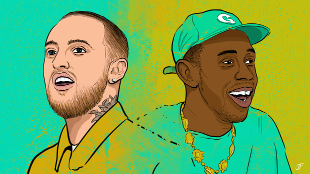 2019 illustration of Mac Miller and Tyler, The Creator