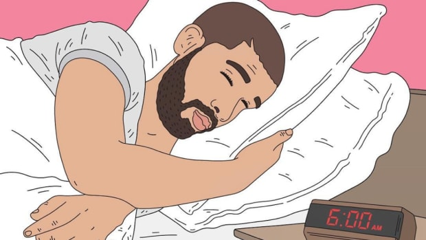 Drake sleeping in bed.