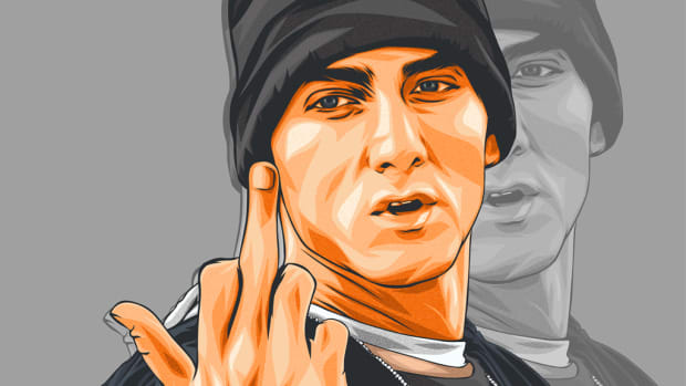 Eminem middle finger, illustration, 8 Mile