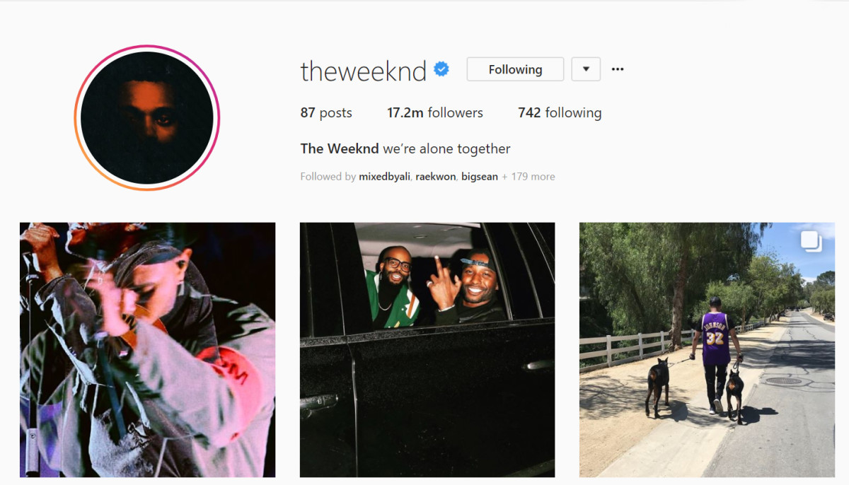 The Weeknd, Instagram