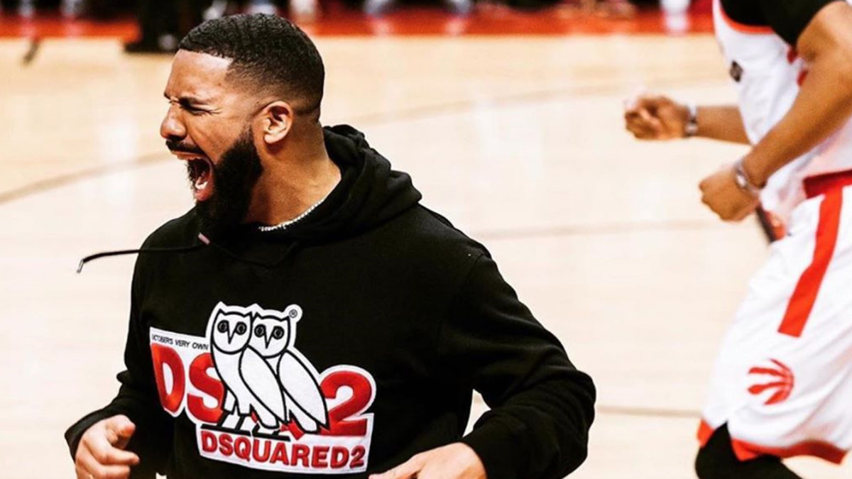 Drake celebrating the Raptors win