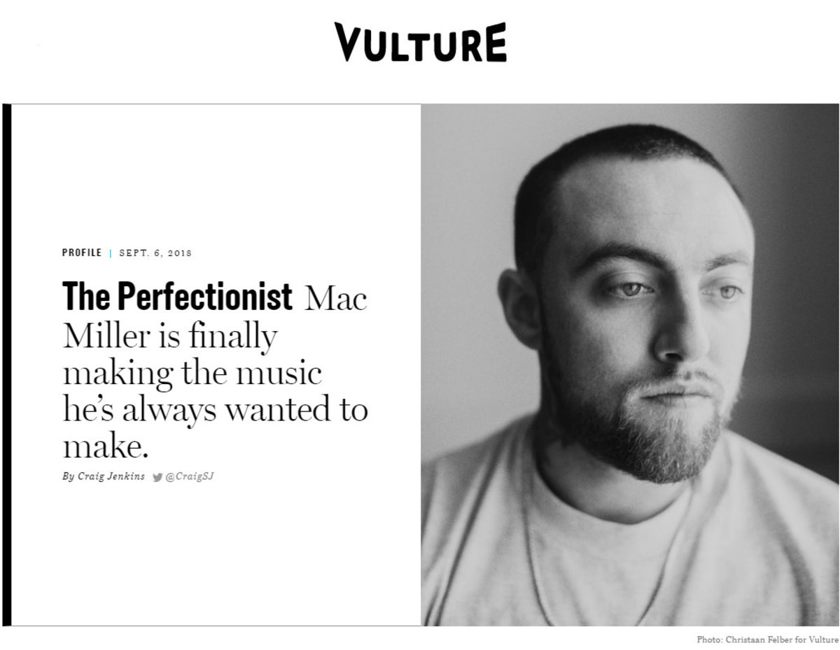 Mac Miller Vulture spread, 2018