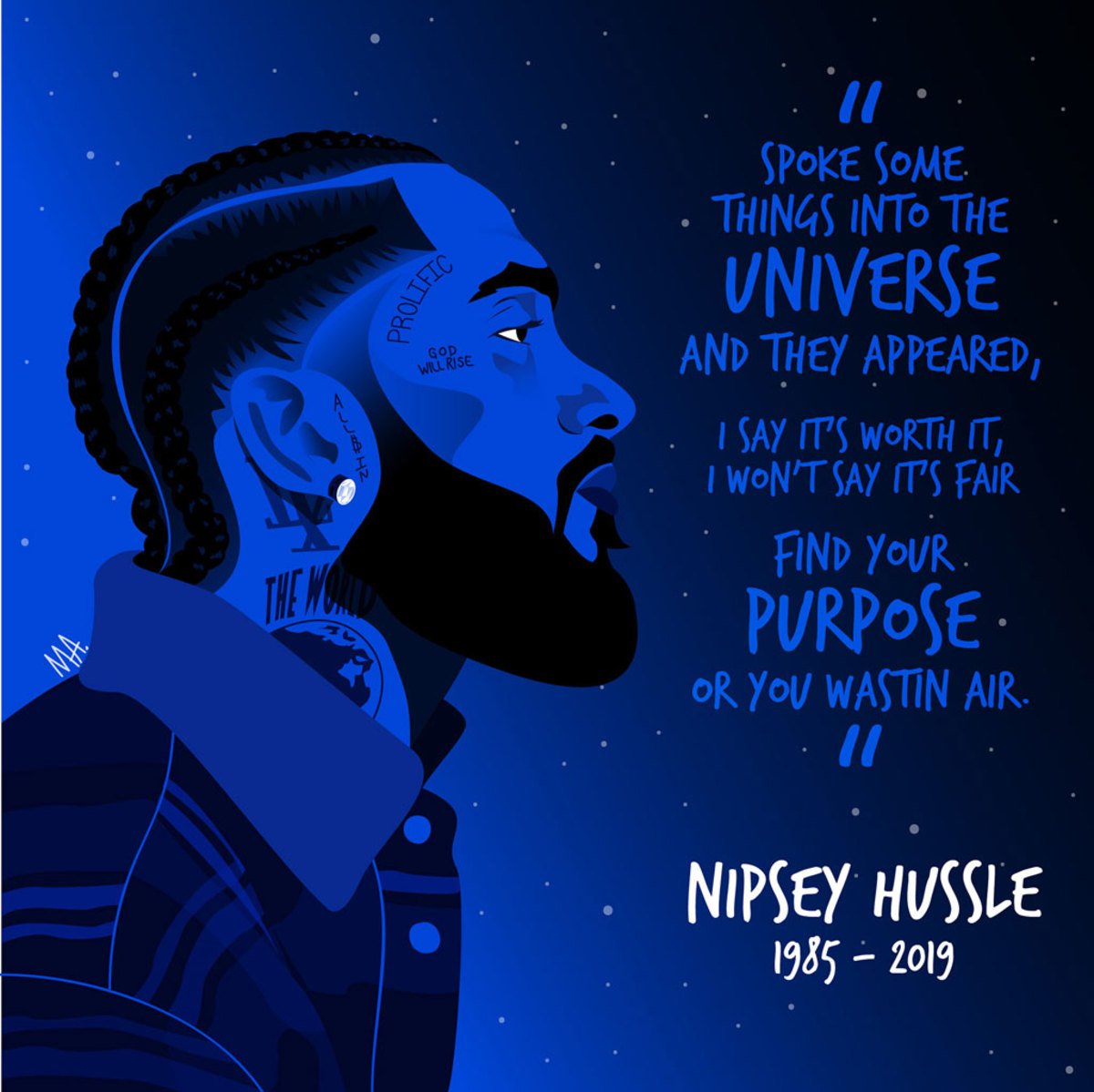 Nipsey Hussle art by ASHBURNE ARTS