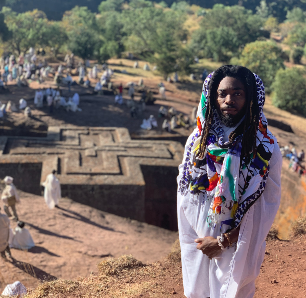 OLU visiting the historic churches at Lalibela while on vacation in Ethiopia just before Orthodox Christmas, January 2020